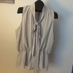 Grey Sleeveless Blouse